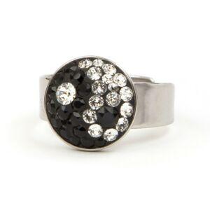 Jin-Jang Swarovski® kristályos nemesacél gyűrű
