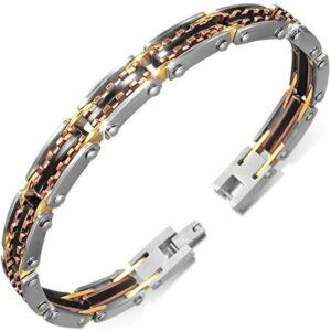 Kaucsuk gumival díszített arany és ezüst színű nemesacél karlánc