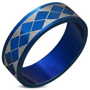 Kék és ezüst színű nemesacél gyűrű ékszer