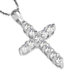 Kereszt alakú kristállyal ékesített divat nyaklánc