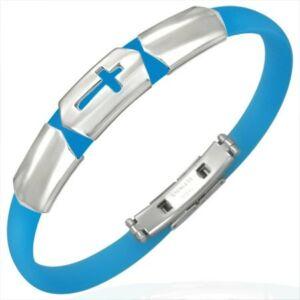 Kereszt mintás kaucsuk karkötő ékszer kék