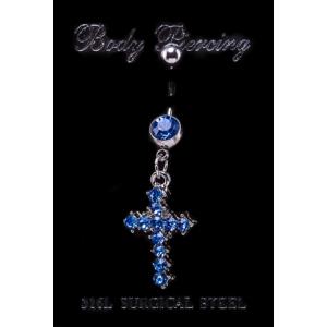 Kereszt nemesacél piercing kék