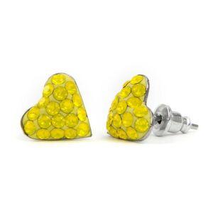Kicsi szíves Swarovski® kristályos nemesacél fülbevaló - Light Topaz
