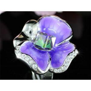 Lila árvácska Swarovski kristályos gyűrű, ezüst színű-6
