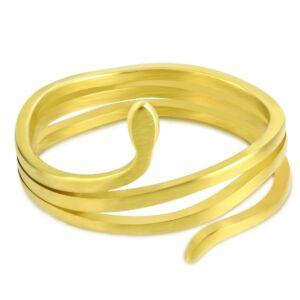 Matt, arany színű, kígyó formájú nemesacél gyűrű-6
