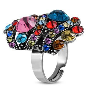 Ovális, állítható nemesacél gyűrű ékszer, színes cirkónia kristállyal