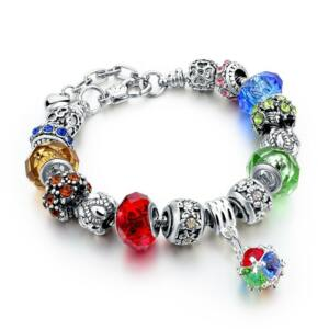 Pandora stílusú kristályos karkötő - Mix