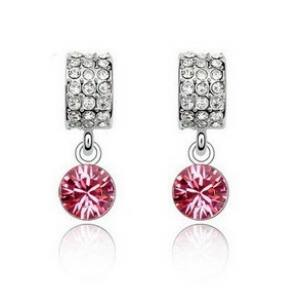 Pink fülbevaló swarovski kristályokkal 002