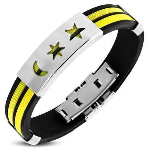 Sárga és fekete színű kaucsuk karkötő ékszer