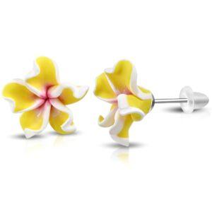 Sárga-fehér-rózsaszín pluméria virág fülbevaló