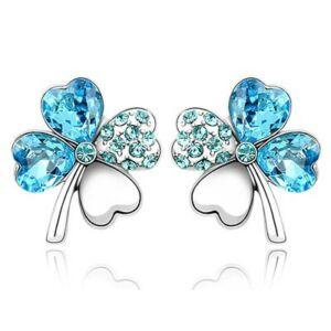 Swarovski kristályos kék 4 levelű lóhere alakú fülbevaló