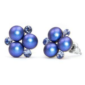 Swarovski® gyönyökkel és kristállyal díszített nemesacél fülbevaló 012