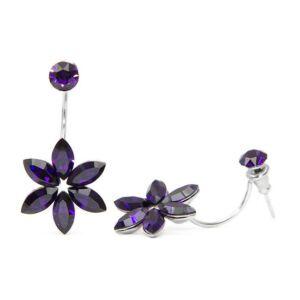 Swarovski® kristályos nemesacél fülbevaló - Purple Velvet