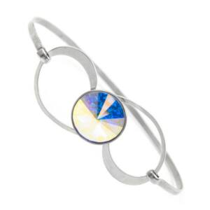Swarovski® kristályos nemesacél karperec - Crystal AB