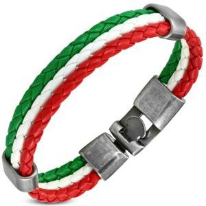 Színes fonott bőr karkötő - piros-fehér-zöld
