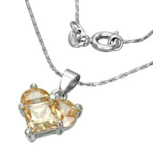 Szív alakú csiszolt kristállyal ékesített női nyaklánc
