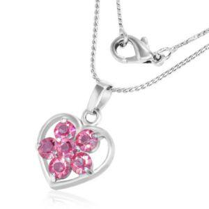 Szív alakú,  kristályos, nemesacél női nyaklánc