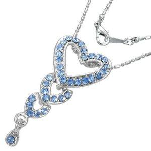 Szív alakú nyaklánc ékszer, kék cirkónia kristállyal