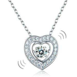 """Szív alakú """"táncoló"""" szintetikus gyémánt nyaklánc - 925 ezüst ékszer"""
