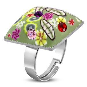 Szögletes, virág mintás állítható nemesacél gyűrű ékszer cirkónia kristállyal