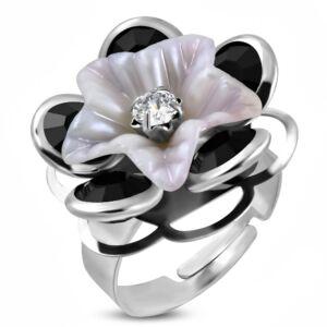Tavi rózsa formájú, állítható nemesacél gyűrű ékszer, cirkónia kristállyal