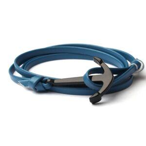Világos kék színű bőr horgonyos karkötő