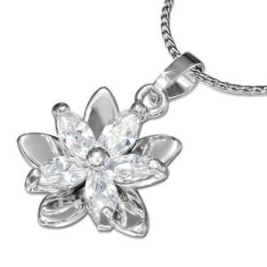 Virág alakú kristállyal ékesített divat nyaklánc