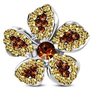 Virág formájú, állítható nemesacél gyűrű ékszer, arany színű cirkónia kristállyal
