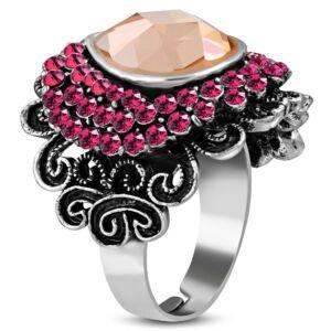 Virág formájú, állítható nemesacél gyűrű ékszer, topáz és rózsa szín cirkónia kristállyal