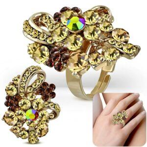 Virág mintájú, ovális, állítható nemesacél gyűrű ékszer, arany színű cirkónia kristállyal