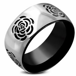 Virág mintázatú, ezüst és fekete színű nemesacél gyűrű ékszer