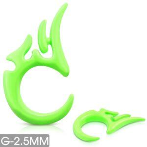 Zöld fültágító, törzsi díszes