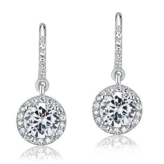 1.5 karátos ezüst fülbevaló szintetikus gyémánt kristállyal - 925 ezüst ékszer