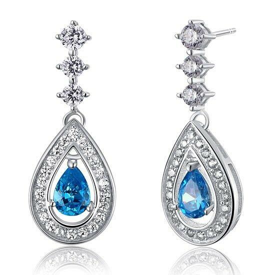 1 karátos ezüst fülbevaló kék szintetikus topáz kristállyal - 925 ezüst ékszer