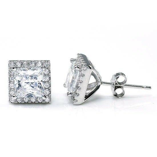 1 karátos ezüst fülbevaló négyzet alkú szintetikus gyémánt kristállyal - 925 ezüst ékszer