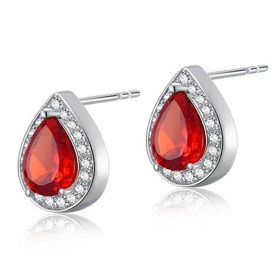 1 karátos ezüst fülbevaló szintetikus vörös rubin kristállyal - 925 ezüst ékszer