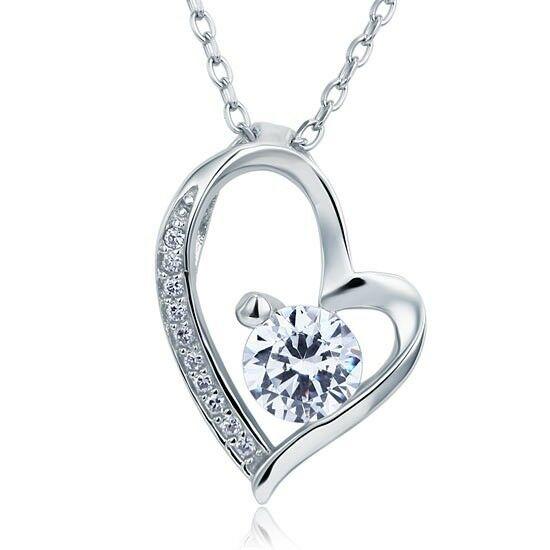 1 karátos szív alakú gyémánt nyaklánc - 925 ezüst ékszer