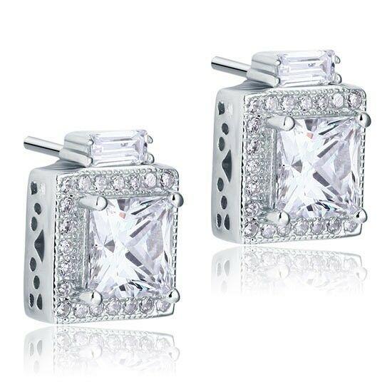 1 karátos vintage stílustú ezüst fülbevaló szintetikus gyémánt kristállyal - 925 ezüst ékszer