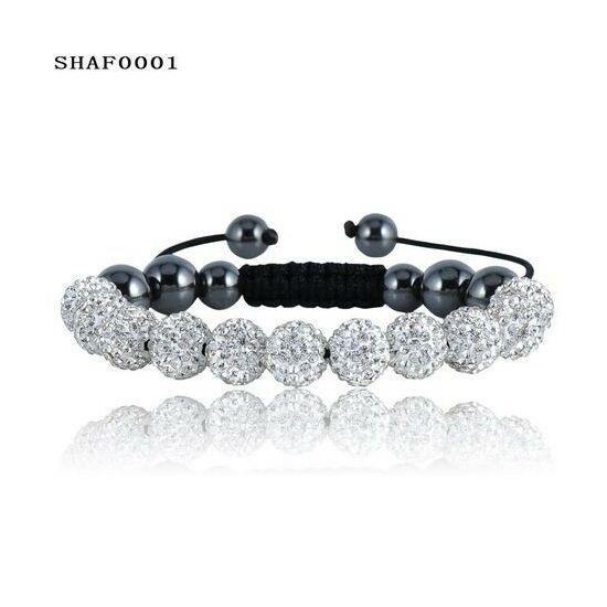 11 kristály gömbös shamballa karkötő - ezüst