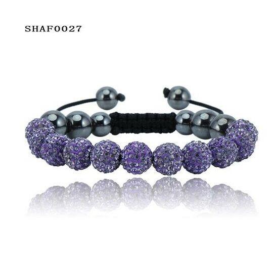 11 kristály gömbös shamballa karkötő - lila
