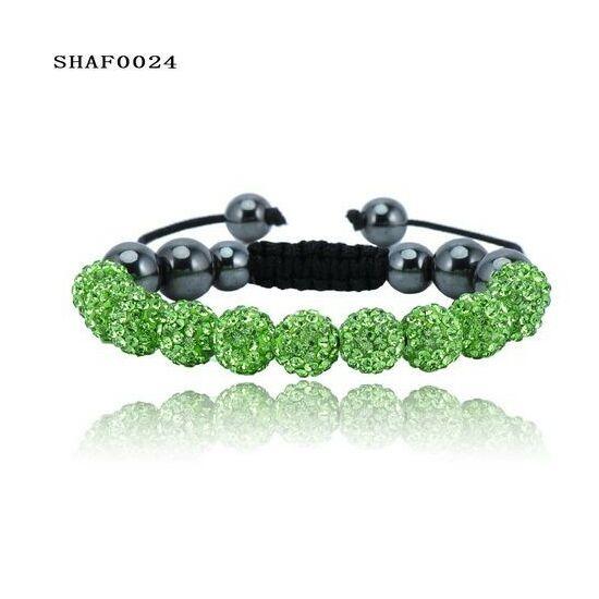 11 kristály gömbös shamballa karkötő - zöld