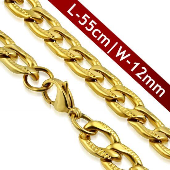 12 mm-es arany színű nemesacél nyaklánc ékszer