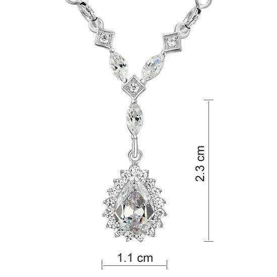 2 karátos csepp alakú gyémánt nyaklánc - 925 ezüst ékszer