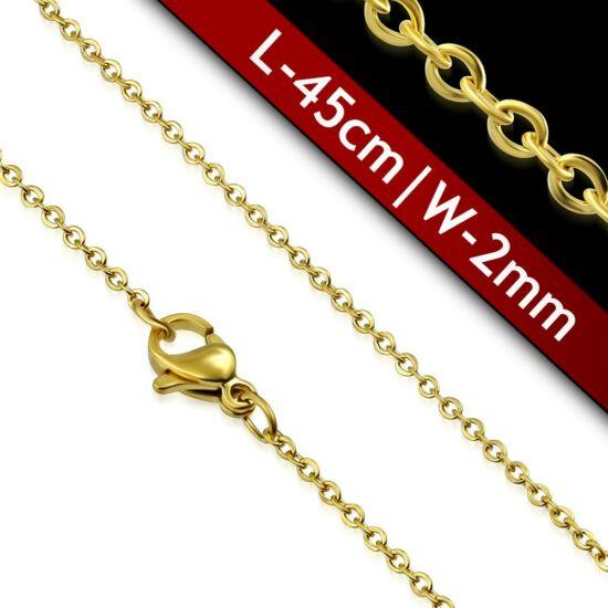 2mm-es, arany színű nemesacél nyaklánc ékszer