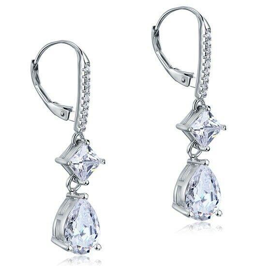 3 karátos ezüst fülbevaló szintetikus gyémánt kristállyal - 925 ezüst ékszer