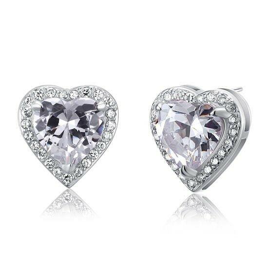 3 karátos ezüst fülbevaló szív alkú cirkónia kristállyal - 925 ezüst ékszer
