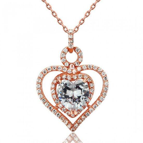 3 karátos szintetikus gyémánt nyaklánc - rózsaarannyal futtatott 925 ezüst ékszer