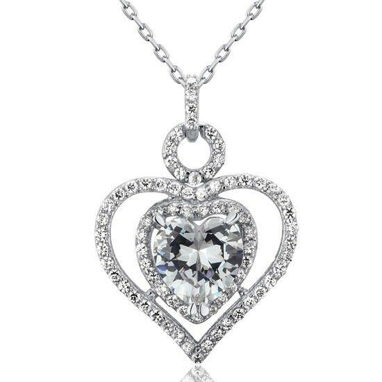 3 karátos szív alakú gyémánt nyaklánc - 925 ezüst ékszer