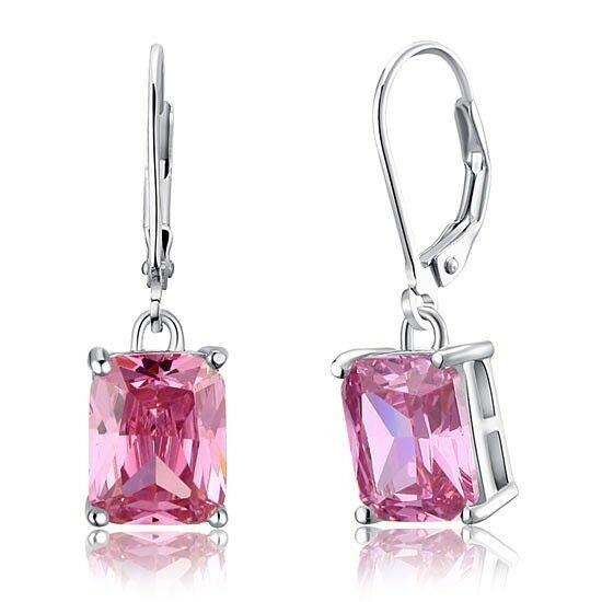 4 karátos ezüst fülbevaló hasáb alakú szintetikus pink zafír kristállyal - 925 ezüst ékszer