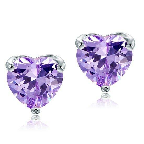 4 karátos ezüst fülbevaló szív alakú lila szintetikus gyémánt kristállyal - 925 ezüst ékszer